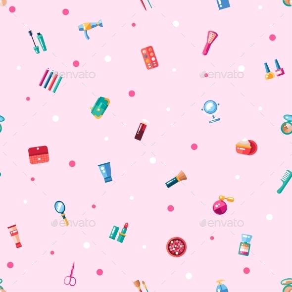 Pattern Of Flat Design Cosmetics, Make Up Icons - Patterns Decorative