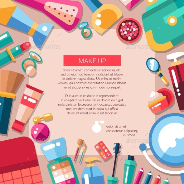 Cosmetics, Make Up Postcard Template - Miscellaneous Vectors