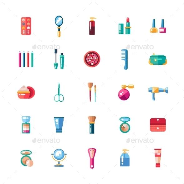 Set Of Flat Design Cosmetics, Make Up Icons - Miscellaneous Vectors
