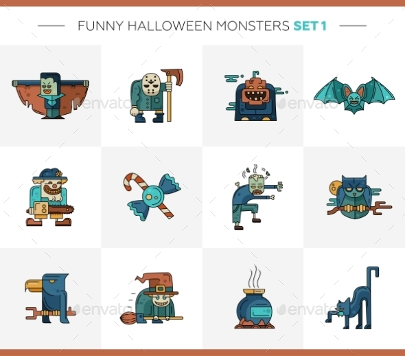 Set Of Halloween Line Flat Design Modern Icons - Halloween Seasons/Holidays