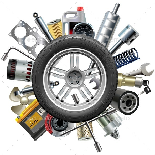 Vector Car Spares Concept with Wheel - Industries Business