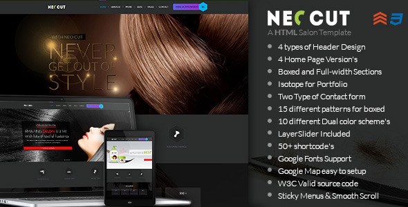 NEO CUT - Hair Style Salon HTML5 Template - Retail Site Templates