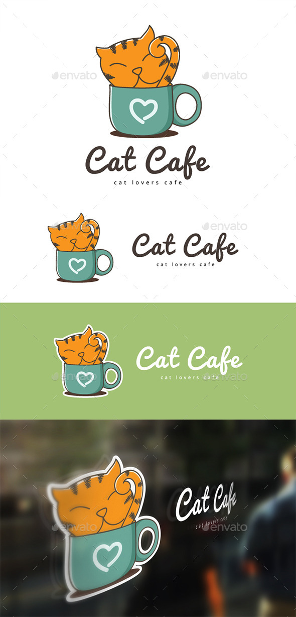 Cat Cafe - Animals Logo Templates