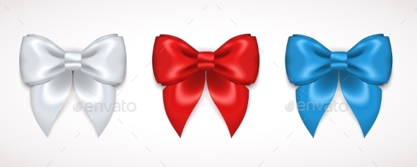 Set Of Silk White, Red And Blue Bows - Decorative Symbols Decorative