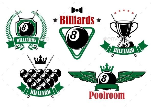 Billiards Icons With Game Items - Sports/Activity Conceptual