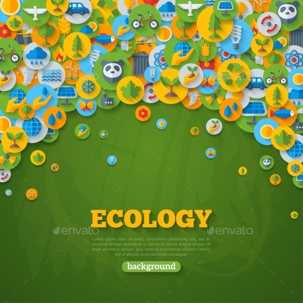 Ecology Background With Flat Icons On Circles. - Technology Conceptual