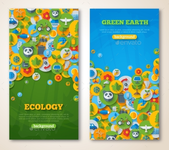 Vertical Banners Set With Icons Of Ecology - Technology Conceptual