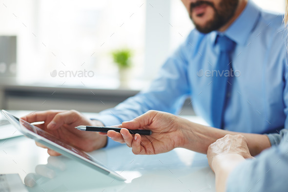 Discussion with modern technology - Stock Photo - Images