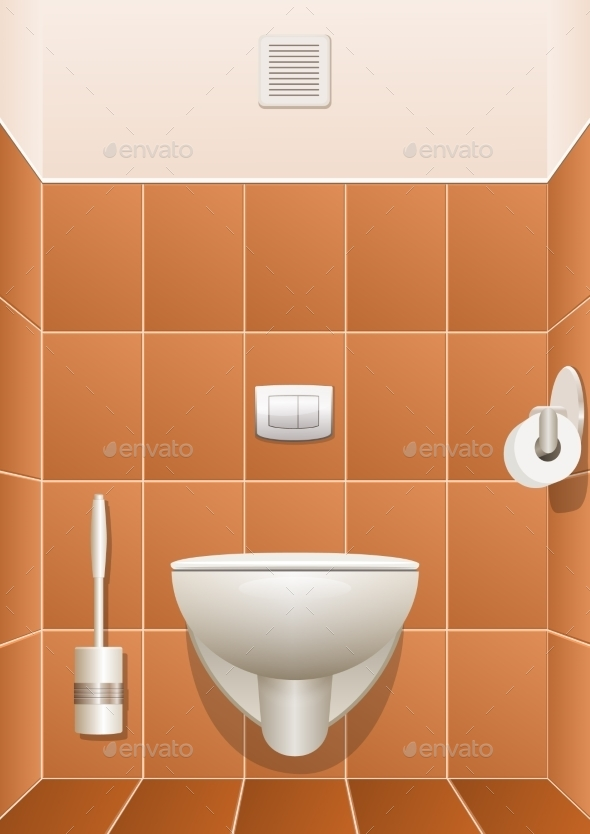 Toilet In a Building Interior. Vector Illustration - Buildings Objects