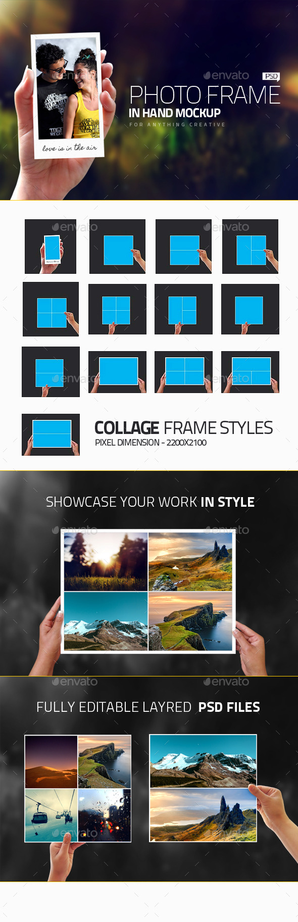 Photo Frames in Hand Mockups - Photo Templates Graphics