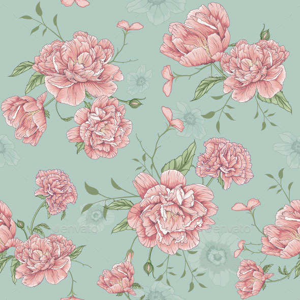 Florals Design Pattern Illustration - Flowers & Plants Nature