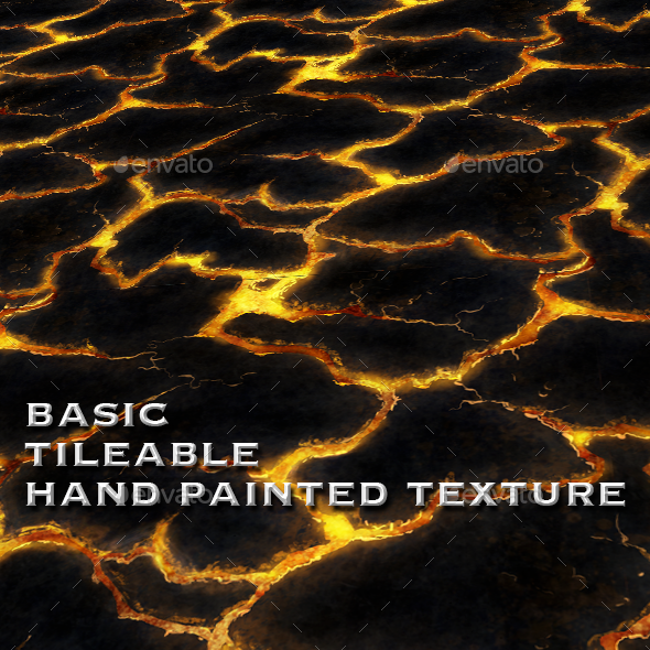 Lava Ground Tile - Hand Painted Texture - 3DOcean Item for Sale