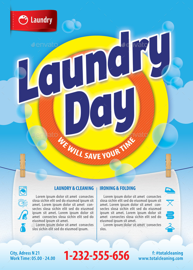 Laundry service flyer template 112 by 21min graphicriver for Laundry flyers templates