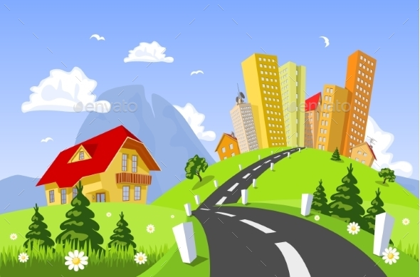 Vector City Surrounded By Nature Landscape - Landscapes Nature