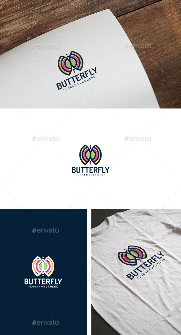 Colorful Butterfly Logo - Animals Logo Templates