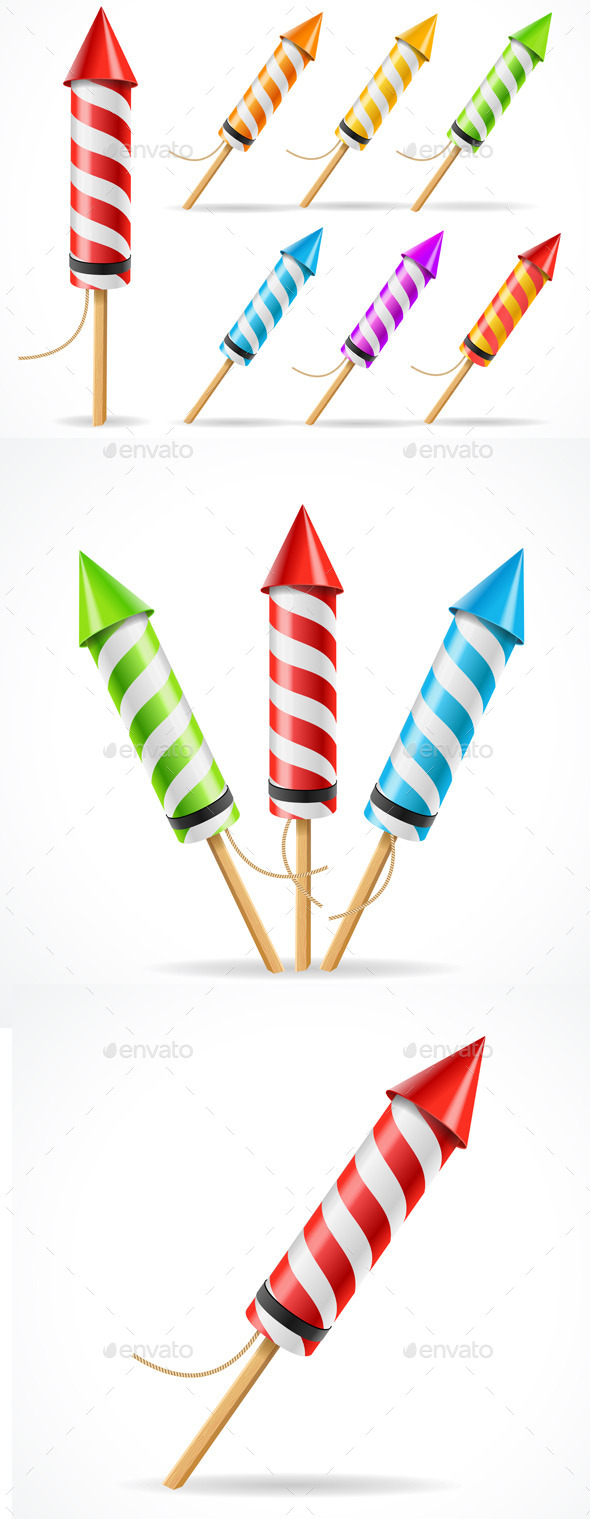 Fireworks Rocket Set. Vector - Miscellaneous Seasons/Holidays