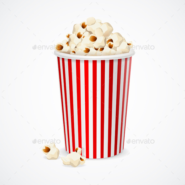 Popcorn in Red and White Cardboard Box for Cinema. - Objects Vectors