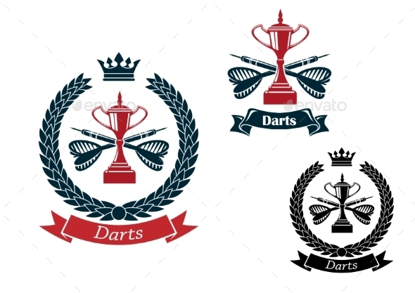 Darts Emblems With Arrows And Trophies - Sports/Activity Conceptual