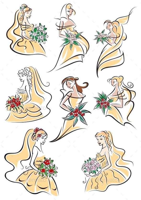 Brides In Yellow Wedding Dresses  - Weddings Seasons/Holidays