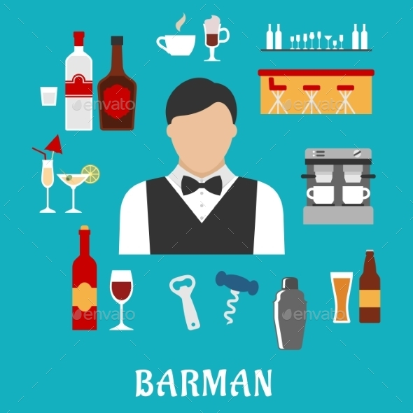 Barman And Bartender Flat Icons - Food Objects
