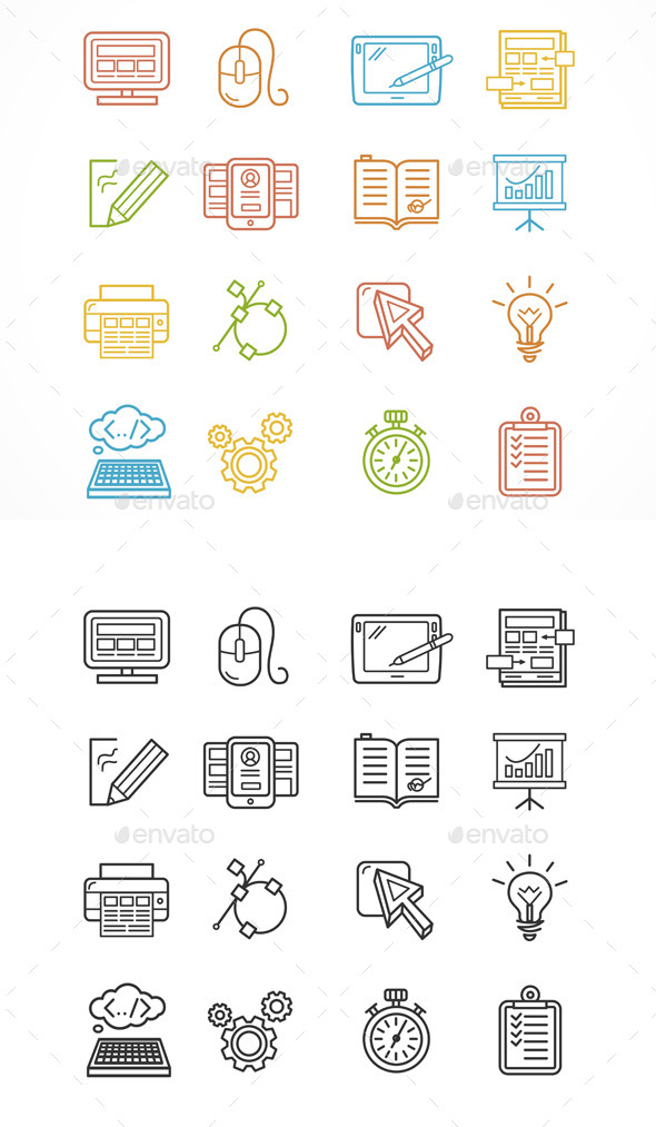 Design Web Site Development Theme Icon Set. Vector - Web Technology