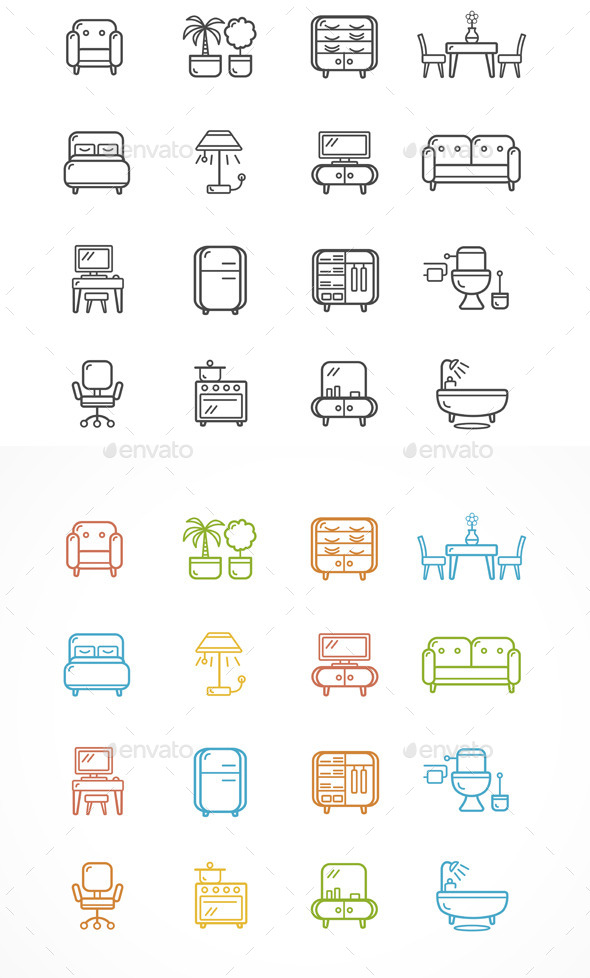 Flat Line Icons Furniture. Vector - Objects Vectors