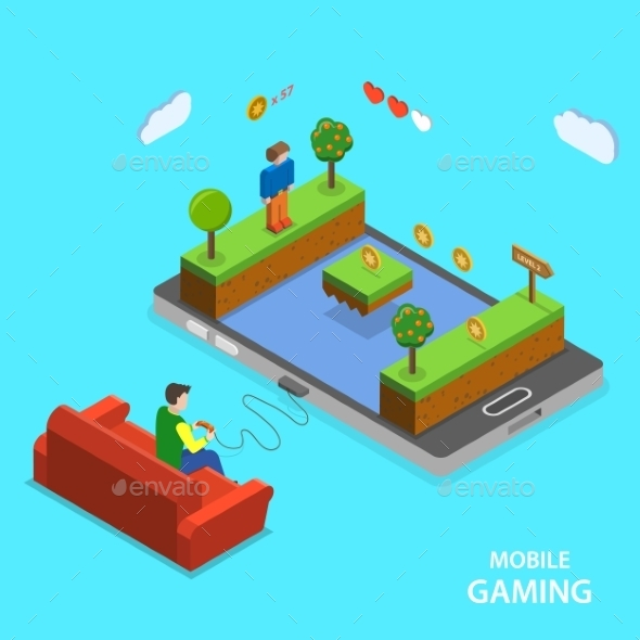 Mobile Gaming Flat Isometric Vector Concept. - Computers Technology