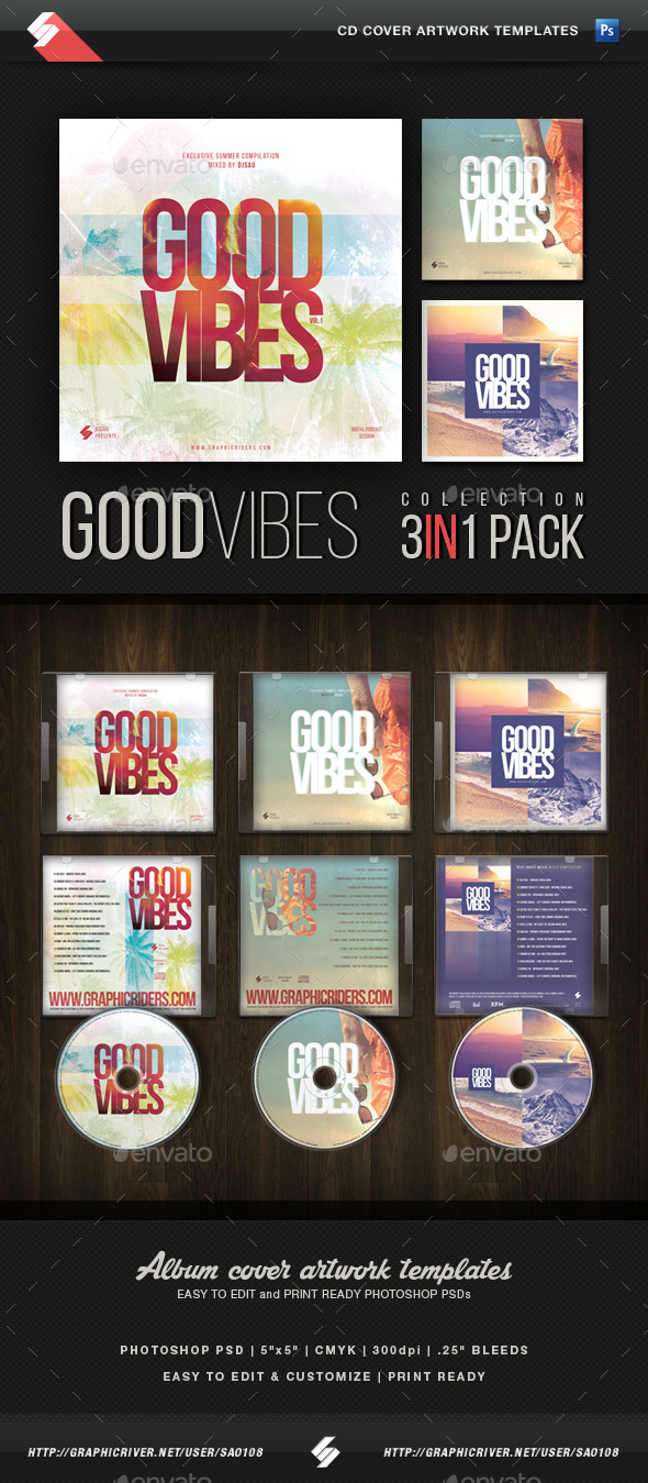 Good Vibes Trilogy - CD Cover Templates Bundle - CD & DVD Artwork Print Templates