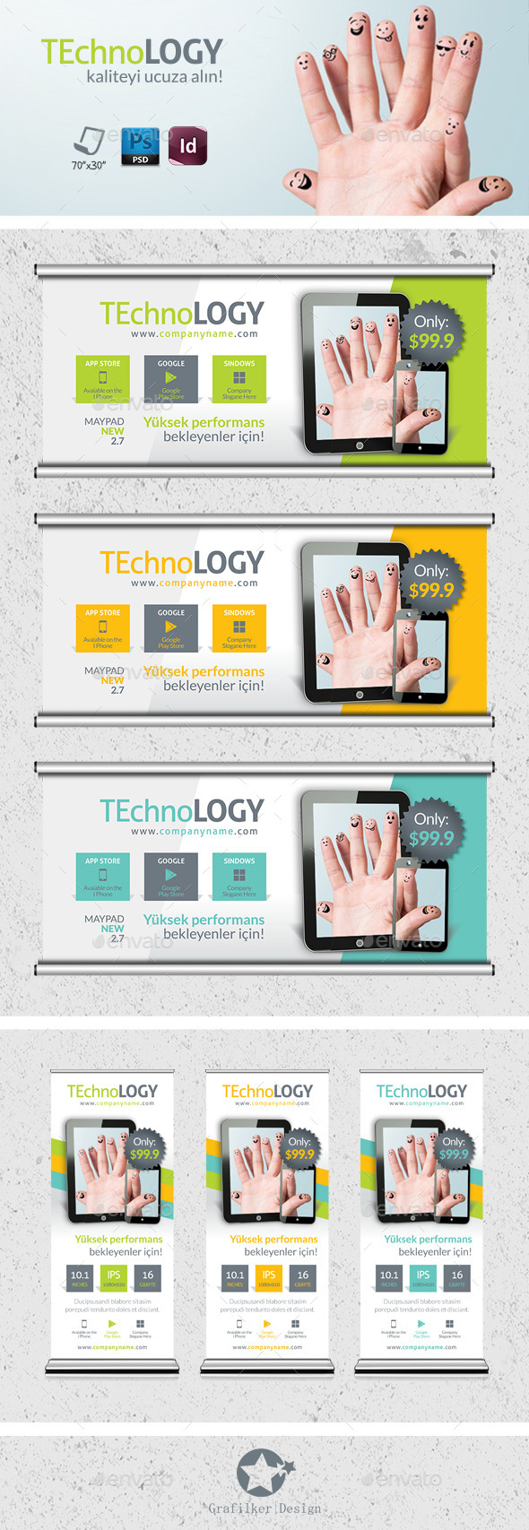 Tecnology Billboard Roll-Up Template - Signage Print Templates