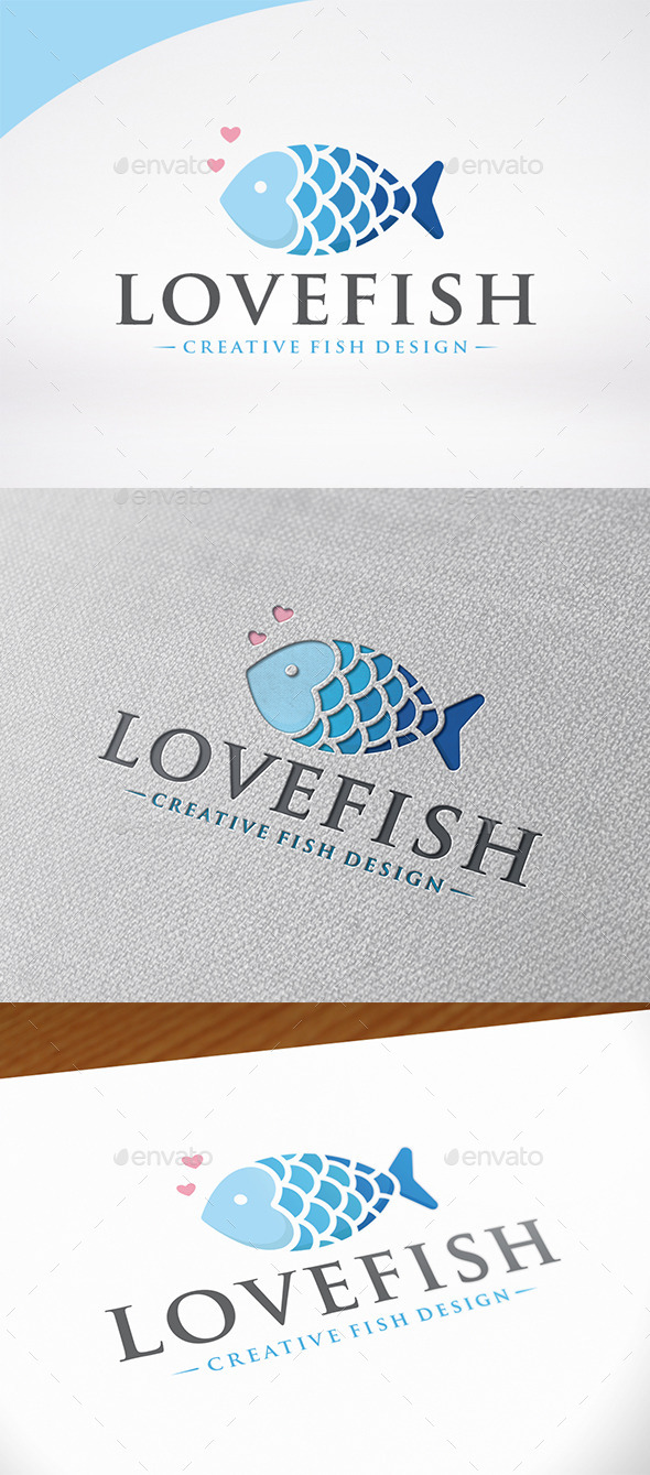 Love Fish Logo Template - Animals Logo Templates
