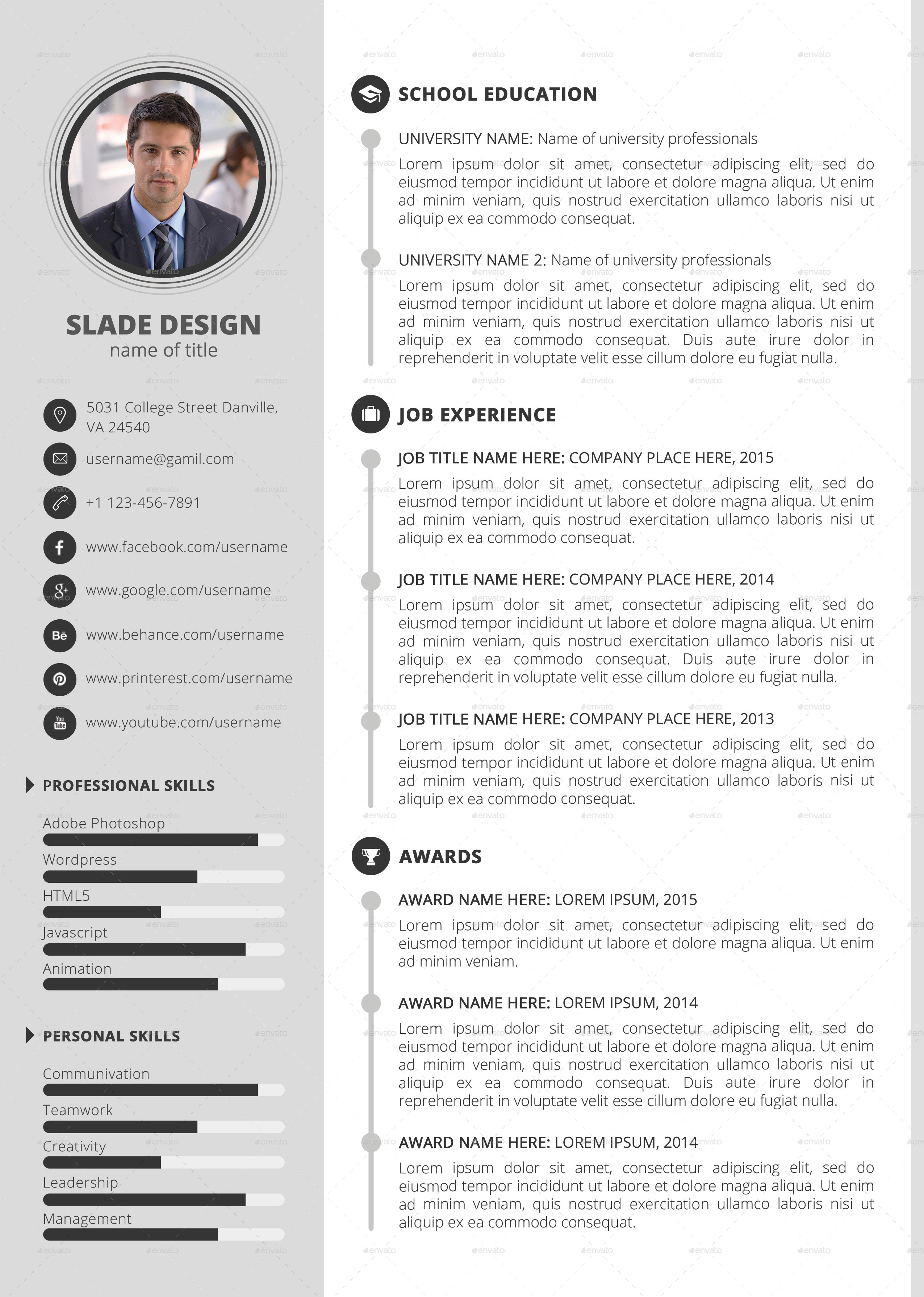 slade professional quality cv    resume template by