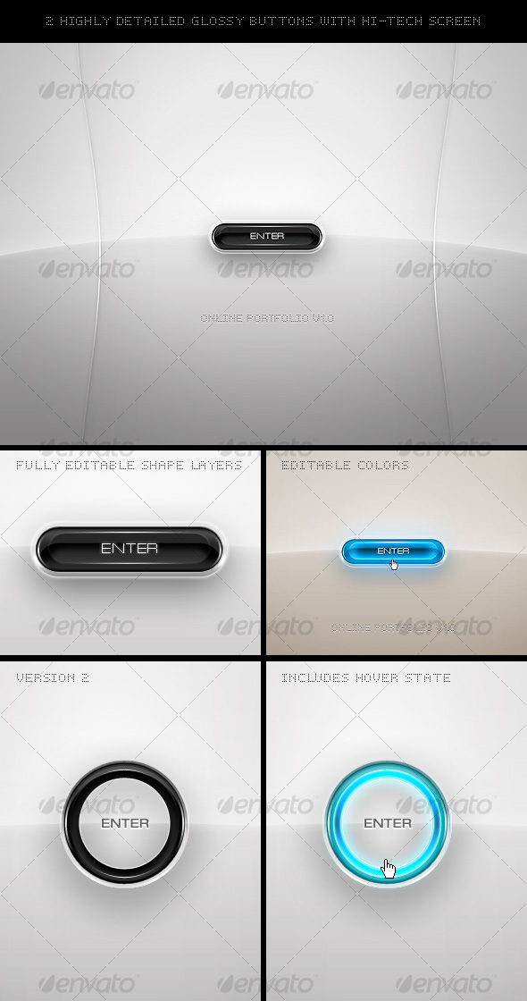 2 Highly Detailed Glossy Buttons - Buttons Web Elements