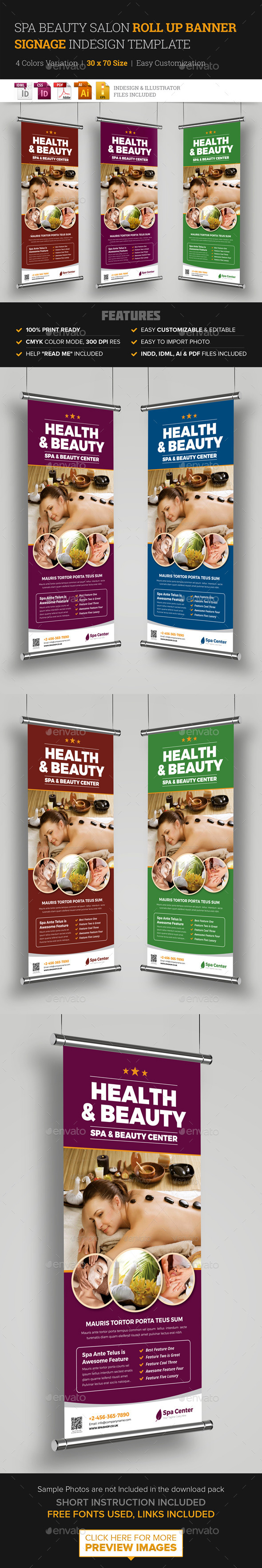 Spa Beauty Roll Up Banner Signage InDesign - Signage Print Templates
