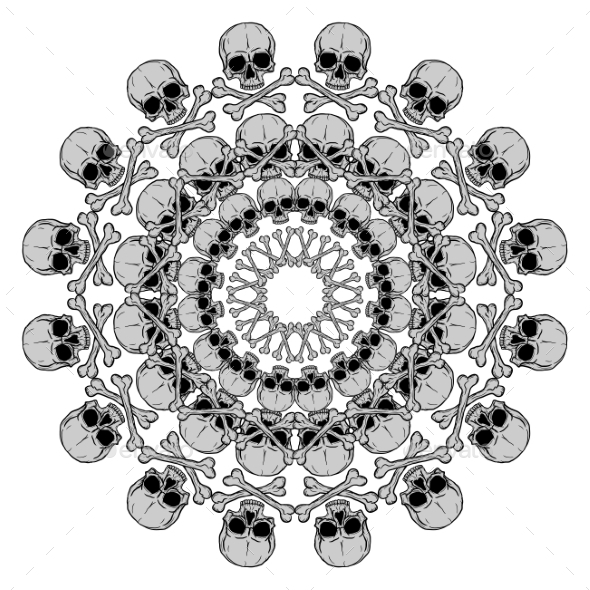 Human Skull Circular Pattern - Decorative Vectors