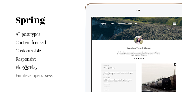 Spring – Grid, Content Focus Tumblr Theme