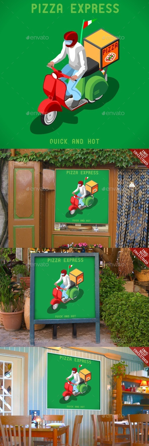 Pizza Delivery People Isometric - Food Objects