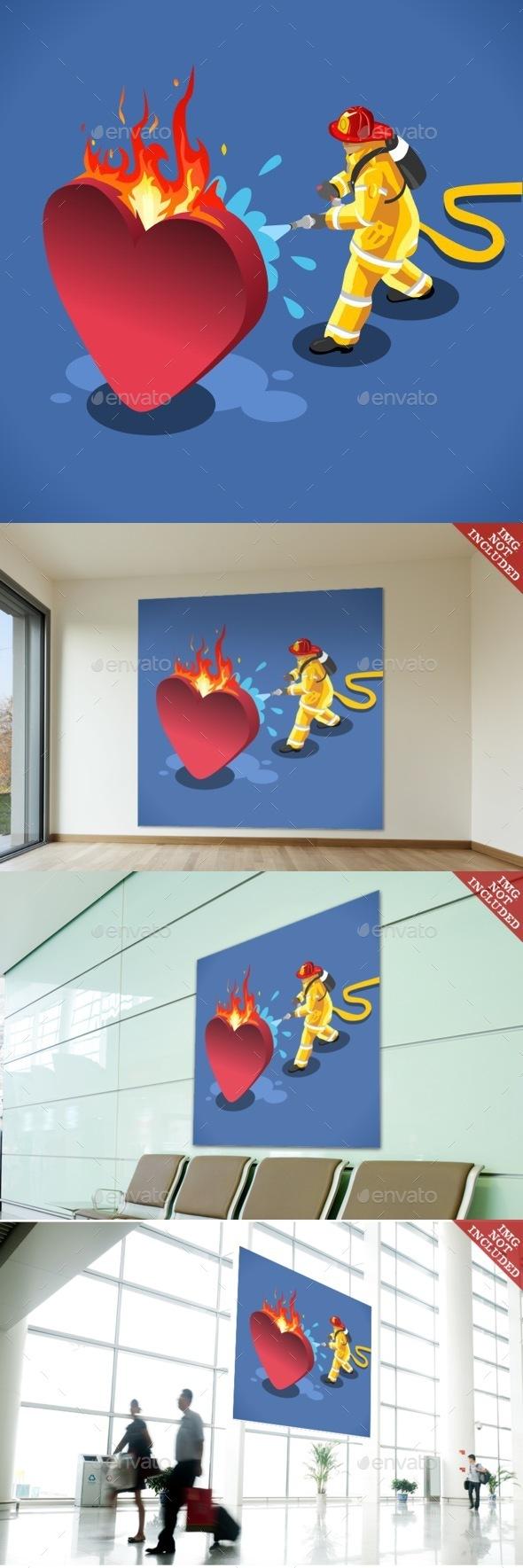 Sick Heart Concept Isometric - Conceptual Vectors