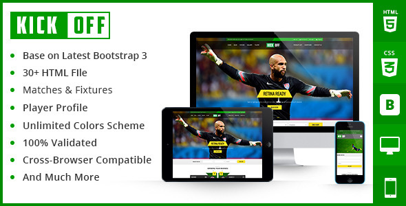 Kickoff Sports Html Theme - Nonprofit Site Templates