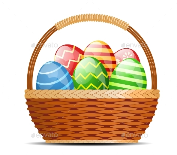 Basket with Easter Eggs - Miscellaneous Seasons/Holidays