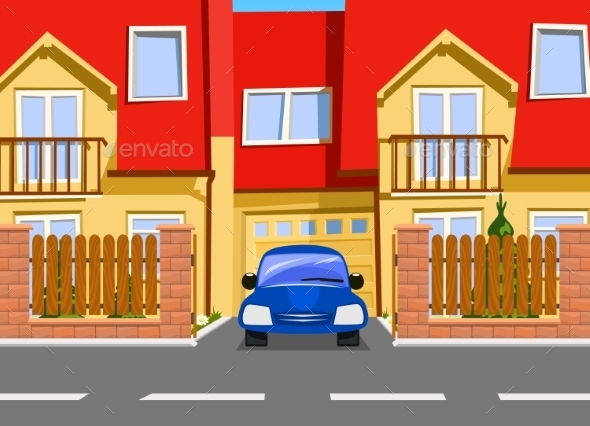 Car Near the Garage - Buildings Objects