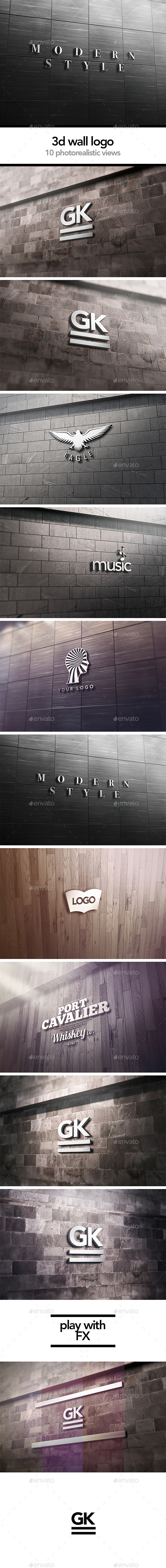 3D Logo Signage Wall Mock Up - Logo Product Mock-Ups