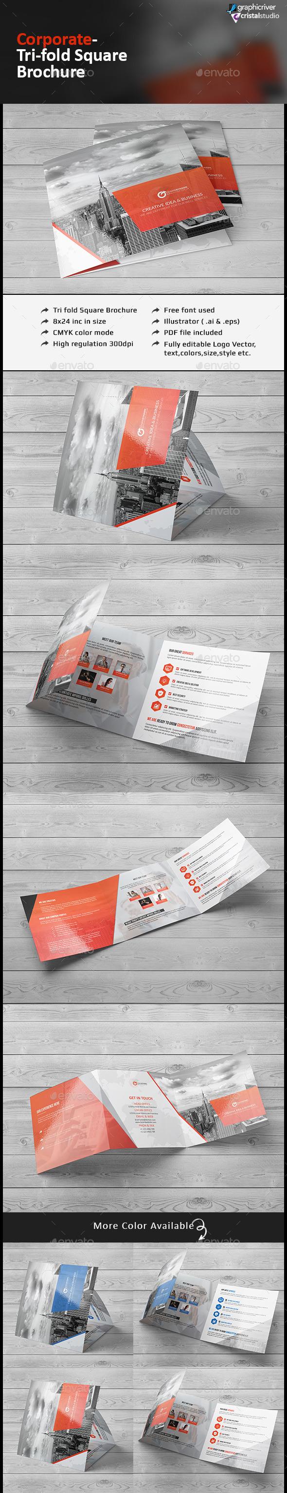 Square Tri-fold Brochure-Multipurpose - Corporate Brochures