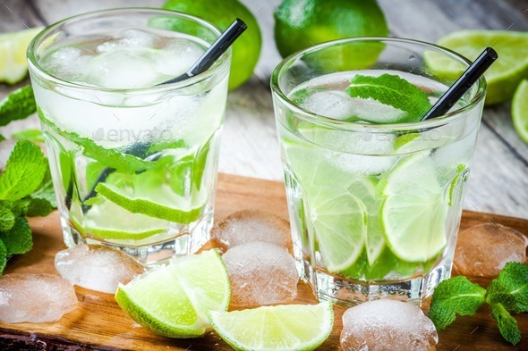 two cold mojitos cocktail - Stock Photo - Images