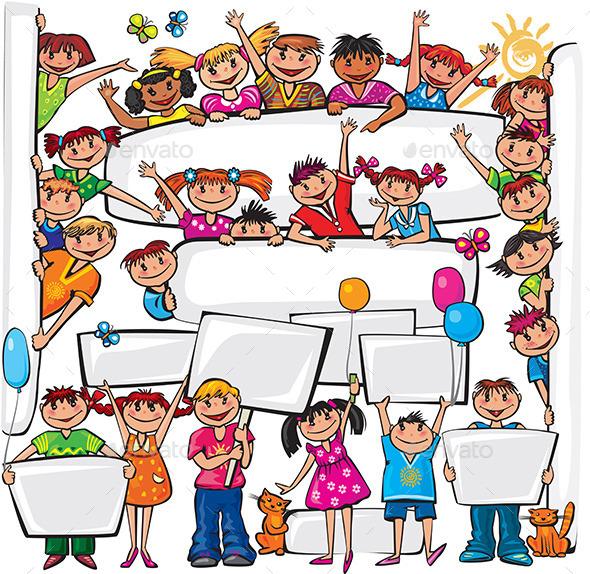 Set of Kids Standing Behind Playcard - People Characters
