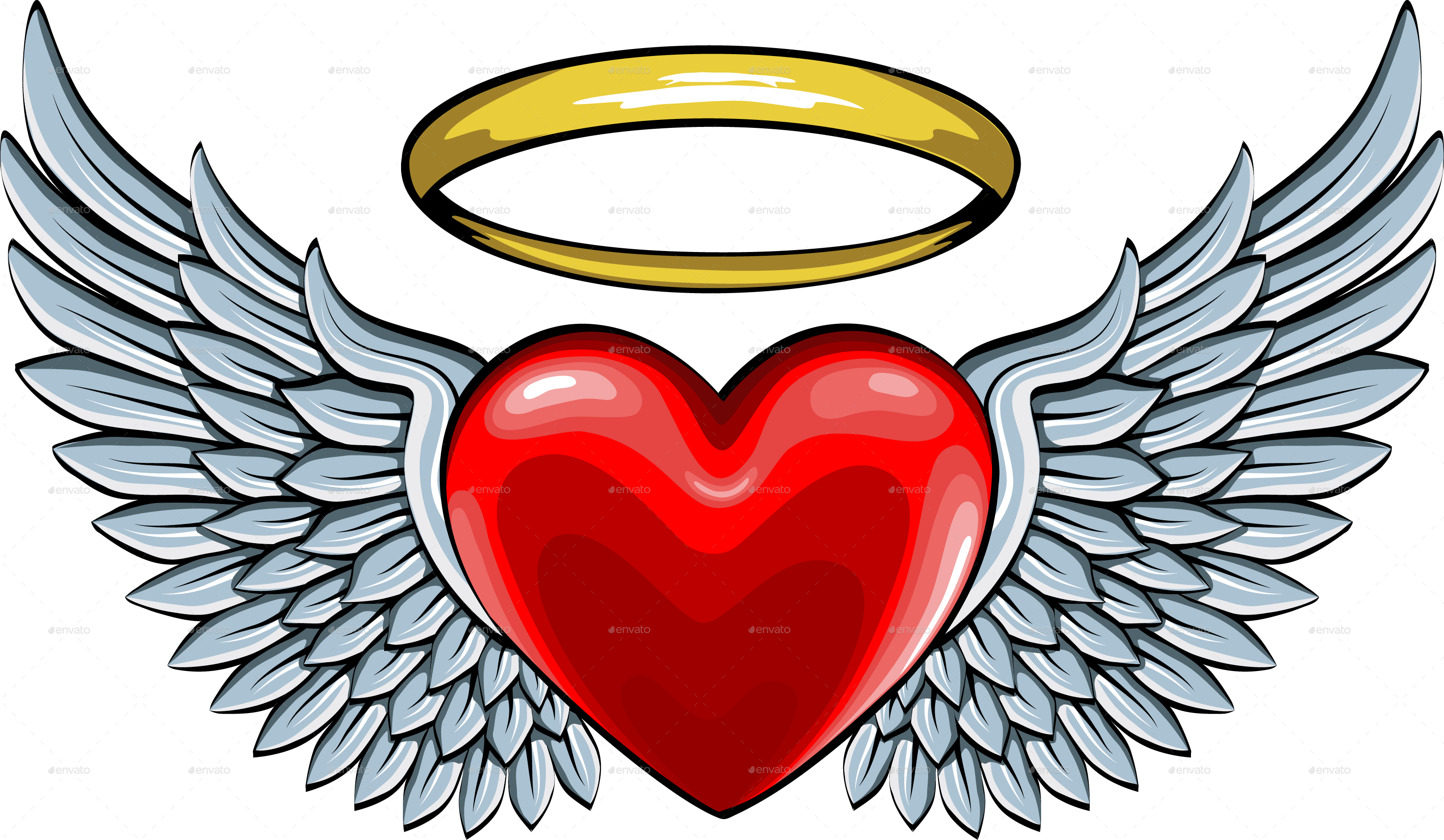 Red Heart with Angel Wings and Halo by ashmarka | GraphicRiver Angel Wings Heart Halo
