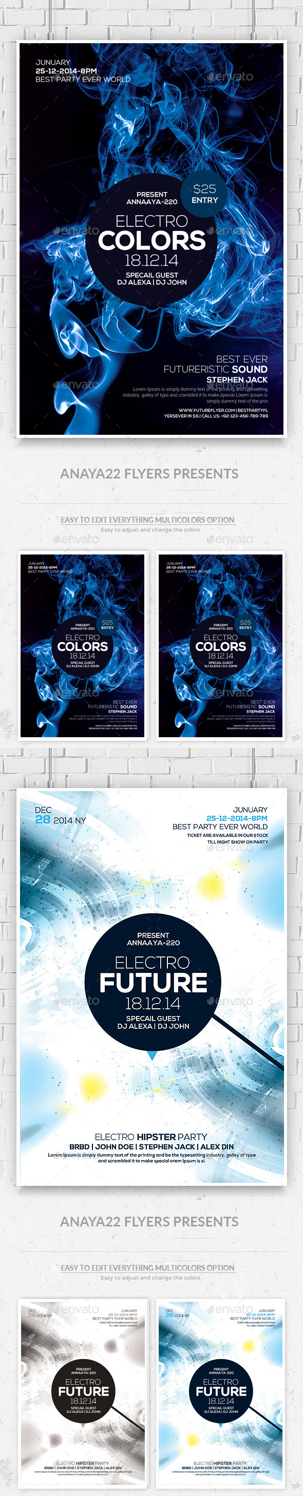 Electro Smoke Futuristic Flyers Bundle
