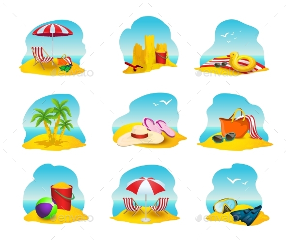 Beach Icons Set