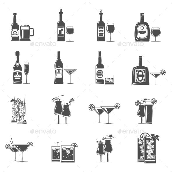 Cocktail Icons Black - Food Objects