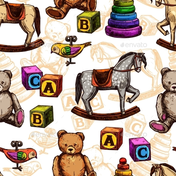 Vintage Toy Seamless Pattern - Backgrounds Decorative