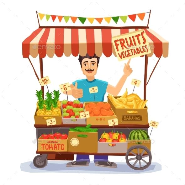 Street Seller Illustration - Food Objects